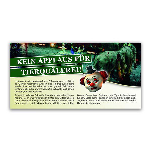Kein Applaus für Tierquälerei Flugblatt