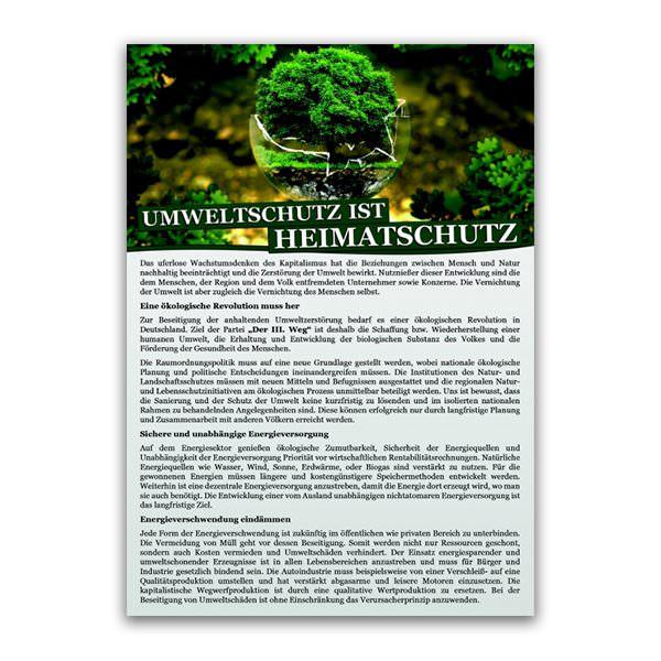 Umweltschutz ist Heimatschutz Flugblatt