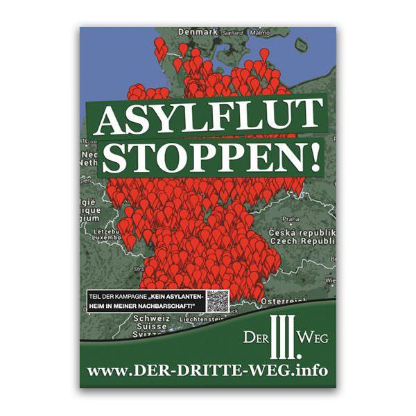 Asylflut stoppen Plakat